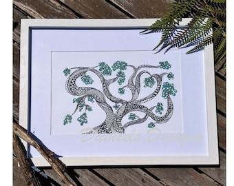 Tangle patterned tree illustration