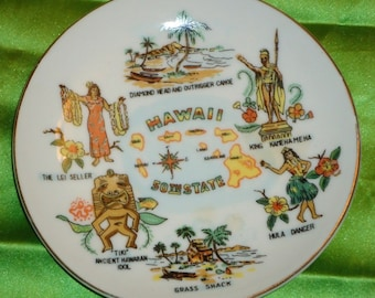 Hawaii 50th State Made in Japan Vintage Plate