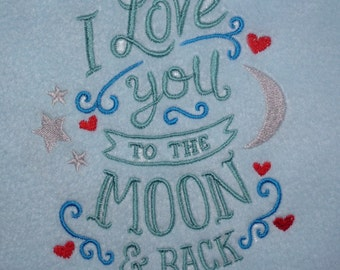 Love you to the moon and Back (229) Embroidered Fleece Baby Blanket