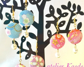 """Japanese earring, """"chirimen fabric and pearl"""""""