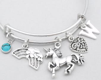 Unicorn rainbow bracelet | unicorn bangle | personalised unicorn bracelet | rainbow unicorn jewelry | unicorn gift | heart | birthstone