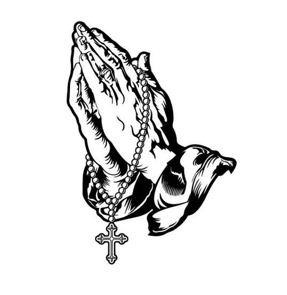 praying hands with rosary beads and cross svg/praying hands