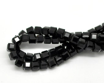 25 square 4x4mm black quartz beads