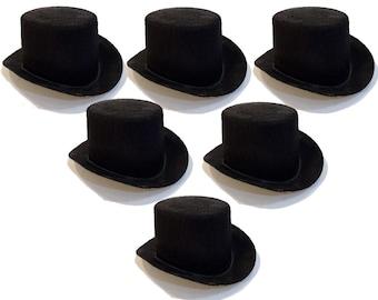 "5 1/2"" Black Mini Flocked Felt Top Hats - 6 PACK"
