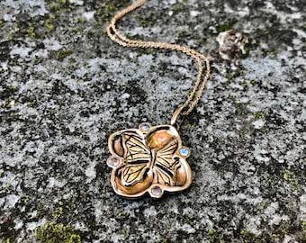 Rainbow Moonstones in Bronze- Butterfly Cherry Blossom Pendant