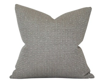 Mamet Pewter Schumacher Designer Pillow Cover - Small Scale Pattern