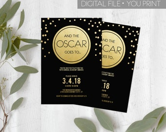 Oscar Party Invitation, 2018 Oscar Invitation, Academy Awards 2018, Black and gold Oscar Party, Oscars Invite, DIGITAL DIY