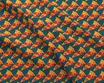 Retro Pizza Fabric - Pepperoni Pizza By Kellygilleran - Retro Kitsch Hipster Pizza Food Cotton Fabric By The Yard With Spoonflower