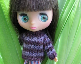 Petite Blythe doll basic sweater knitting PATTERN - instant download - permission to sell finished items