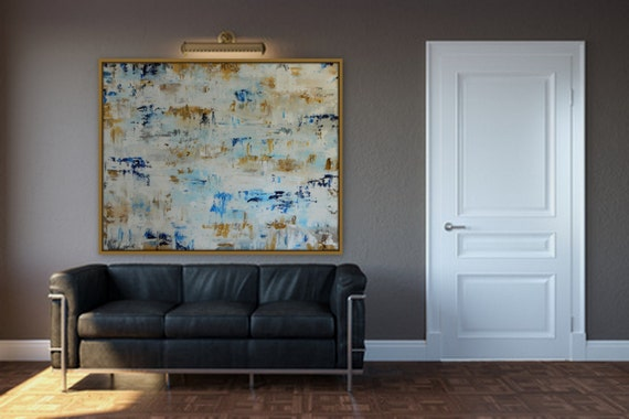 gold silver blue white Large abstract painting huge original modern art contemprary painting large abstract  XL abstract painting custom