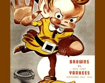 "Vintage 1940s Cleveland Browns Football Poster, Gift, Magazine Illustration Art Print, 1946 Retro Fan Wall Art, 8x10"", 8x11"", Free Ship"