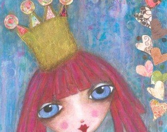 ART PRINT - ALICE  Mixed Media Whimsical Art Girl with Crown Print A4 size Free local Postage