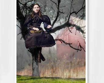 The Girl and the Raven gothic art print