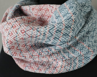 Handwoven Infinity Scarf in Blue and Pink | Handwoven Cotton Cowl | Gift for Her | Gift for Mom