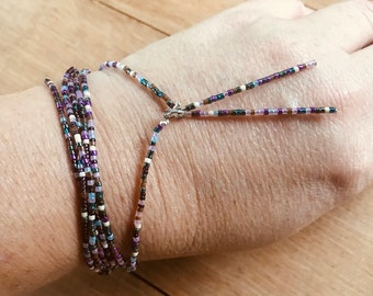 Handmade Glass Seed Bead Metallic Stretch Layering Bracelet or Necklace