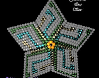 Beading Pattern/Tutorial FIREWORKS One 3D PEYOTE STAR + Basic Instructions