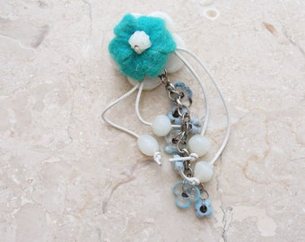 Felt and Glass Flower Brooch - Turquoise and White