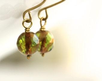Green Glass Earrings - 'Catalyst'