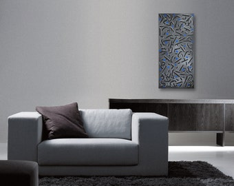 Abstract Original Painting Acrylic on 1.5 Gallery Wrap Canvas 15 x 30 Black Silver Gray Graffiti Industrial Street Art Style