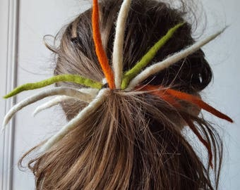 """Scrunchie dreadlocks felted """"peas and carrots"""""""