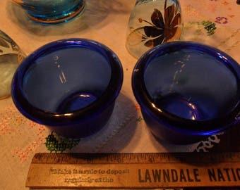 Vintage set of Cobalt Blue Round Candle Holders - Engraved France & #42 on bottom
