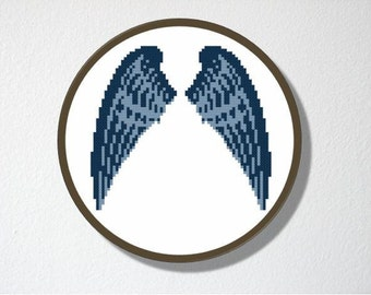 Counted Cross stitch Pattern PDF. Instant download. Angel Wings. Includes easy beginner instructions.