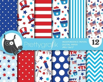 80% OFF SALE Independence day digital papers, 4th of July commercial use, patriot scrapbook papers, background - PS719