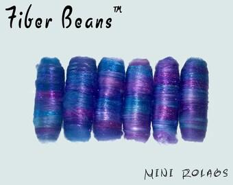 Mini Rolags - Fiber Beans - Twilight Rose- spinning felting - Milk Fiber Rose Fiber Seacell Angelina Sparkle Firestar - violet purple blue