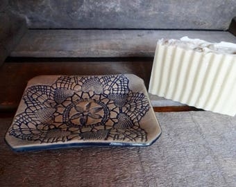 Ceramic Soap Dish Doily Lace Impression Design in Dark Blue Glaze Spoon Rest Home Accent Dish Handmade Hand Built Pottery