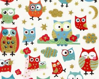 STICKERS owls owl, 15 cm x 16,5 cm, 5.9 inch x 6.5 inch, The Weavers Mill 28909