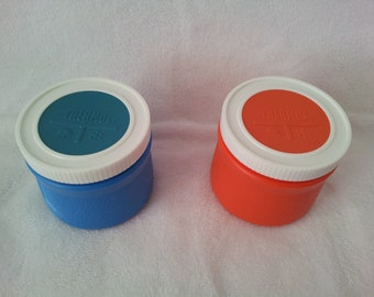 Set of 2 Vintage THERMOS  6 oz Insulated Jar - Orange and Blue