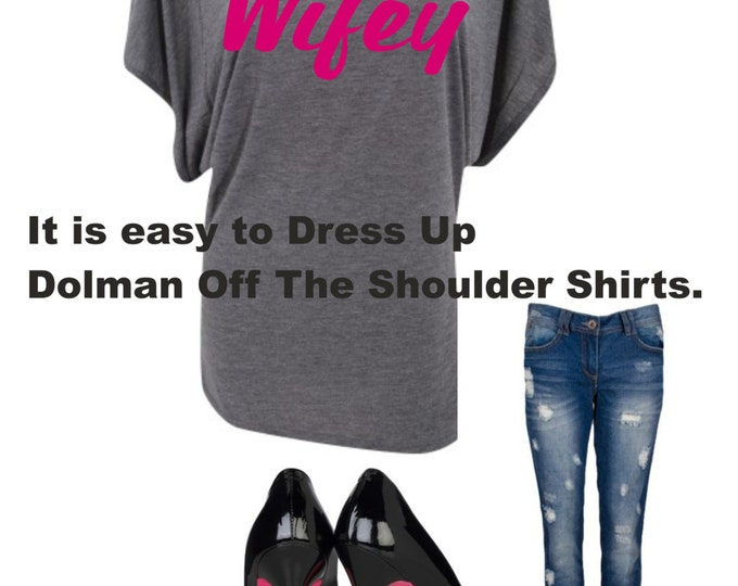Bride Shirt . Wifey pink and grey shirt - Bride short sleeve dolman shirt - off-the-shoulder bride shirt - Pink writing