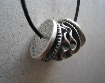 Artifact Inspired Textile Pattern Roller Oxidized Fine Silver Necklace Horizontal - Archaeology