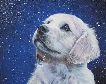 Golden Retriever dog art CANVAS print of LA Shepard painting 12x12