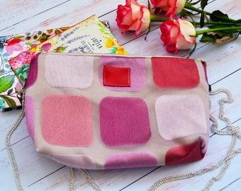 Pink cotton bag Pink bag Geometric bag Pink crossbody bag Pink cotton medium bag Pink shoulder bag Red crossbody purse cross body bag gift