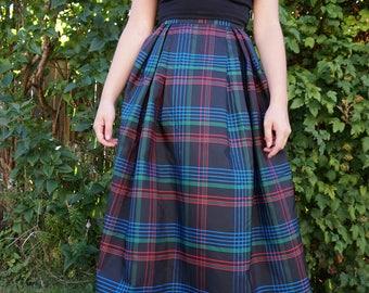 True Vintage Plaid Tartan Skirt Maxi Floor Length Skirt  1950s 1960s Small Medium by Kay Silver