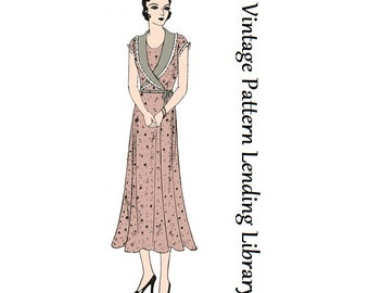 1931 Ladies Day Dress With Wrap Around Collar - Reproduction Sewing Pattern #T3867