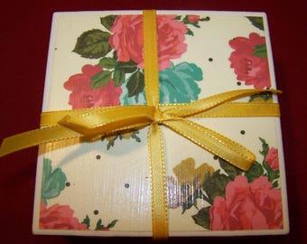Floral Ceramic Tile Coasters Set of 4