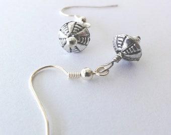 Silver beaded dangle earrings - one of a kind jewelry