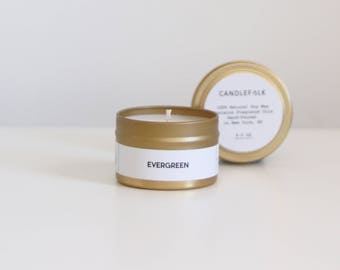 EVERGREEN - 4 oz Travel Soy Candle - Hand-Poured - Candlefolk