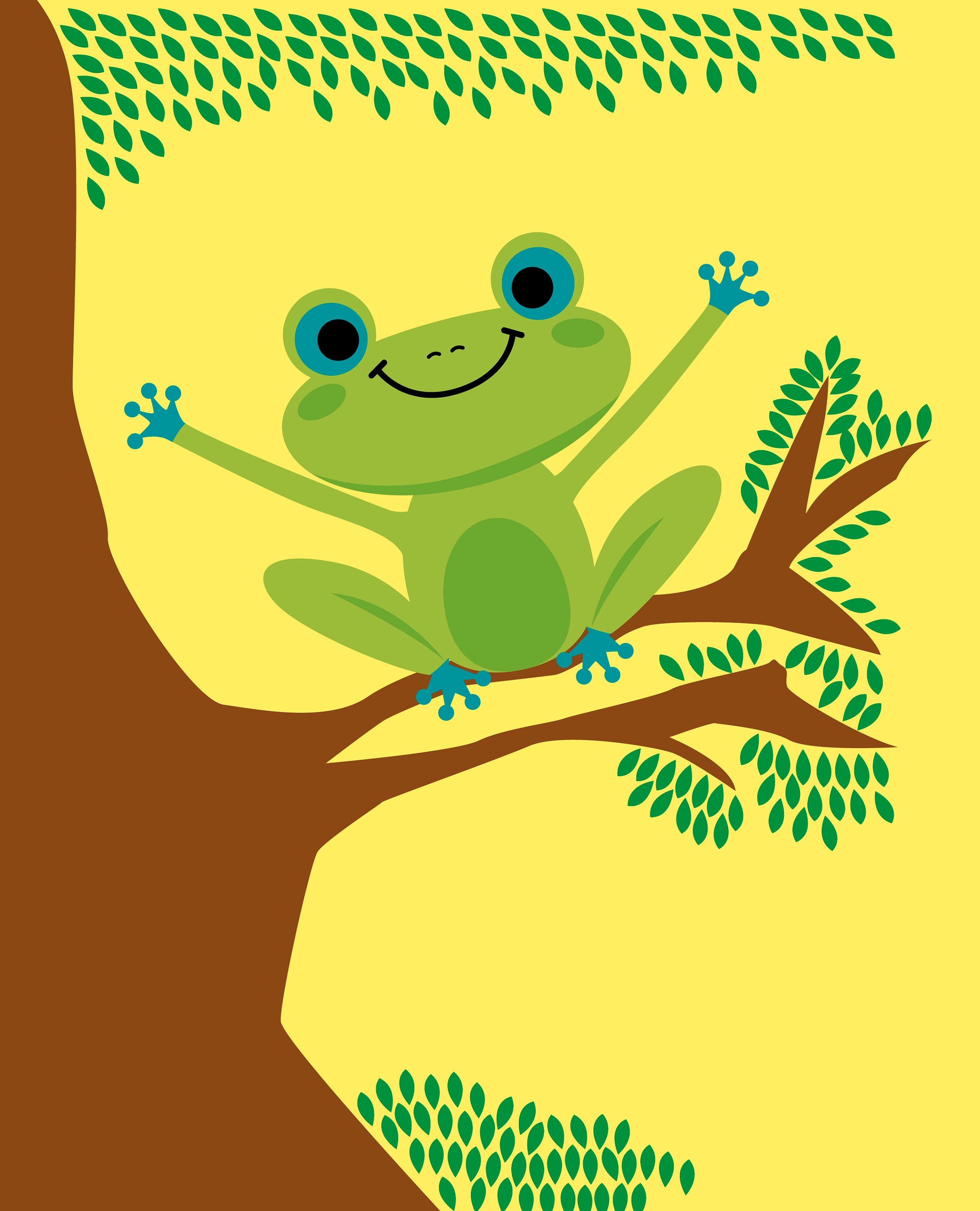 Franny the Frog Fine Art Print Perfect for Kid\'s Room