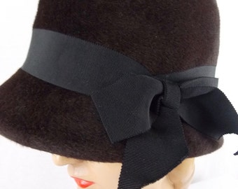 Brown Cloche Hat by Mr. Arnold Felted Wool