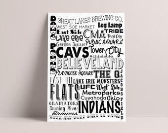 Believeland Print Cleveland Indians Cavs Browns Wall Art City Print Home Decor Digital Print