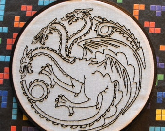 "Fire and Blood - House Targaryen Dragon Sigil - Game of Thrones Inspired -  6"" Hand Embroidery"