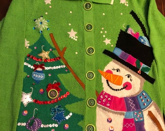Fabulous Vintage Ugly Christmas Cardigan Sweater, Snowman, Christmas Tree, Ornaments, Beads, Tacky, Woman's M-L, Clean!