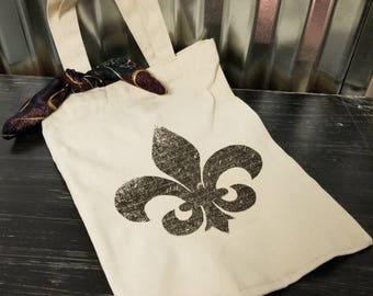 Canvas Tote Bag French Country Market Bag Fleur de Lis Printed Tote Bag Shopping Bag Reusable Grocery Bag Shabby Chic Wine Tote Bag