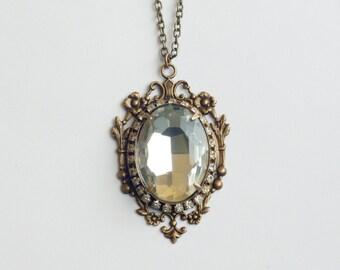 Crystal necklace bridal antique brass jewel wedding jewelry victorian vintage inspired elegant gem pendant rhinestone gilded age