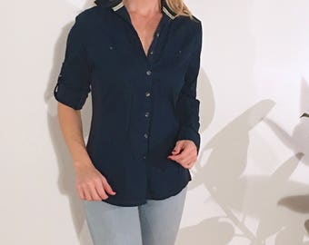HENLEY Dark Navy Button-up w/ Contrasting Hem at Neck, Cuff Button Closures & Panels of Ribbed Cotton Corduroy at Sides, Converse One Star
