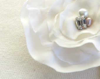 White Ivory Bridal Flower - Hair Clip AND Pin - Free Shipping in US