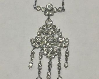Vintage Sterling Silver Rhinestone Chandelier Necklace